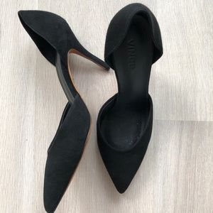 Vince black suede high heel d'orsay pumps